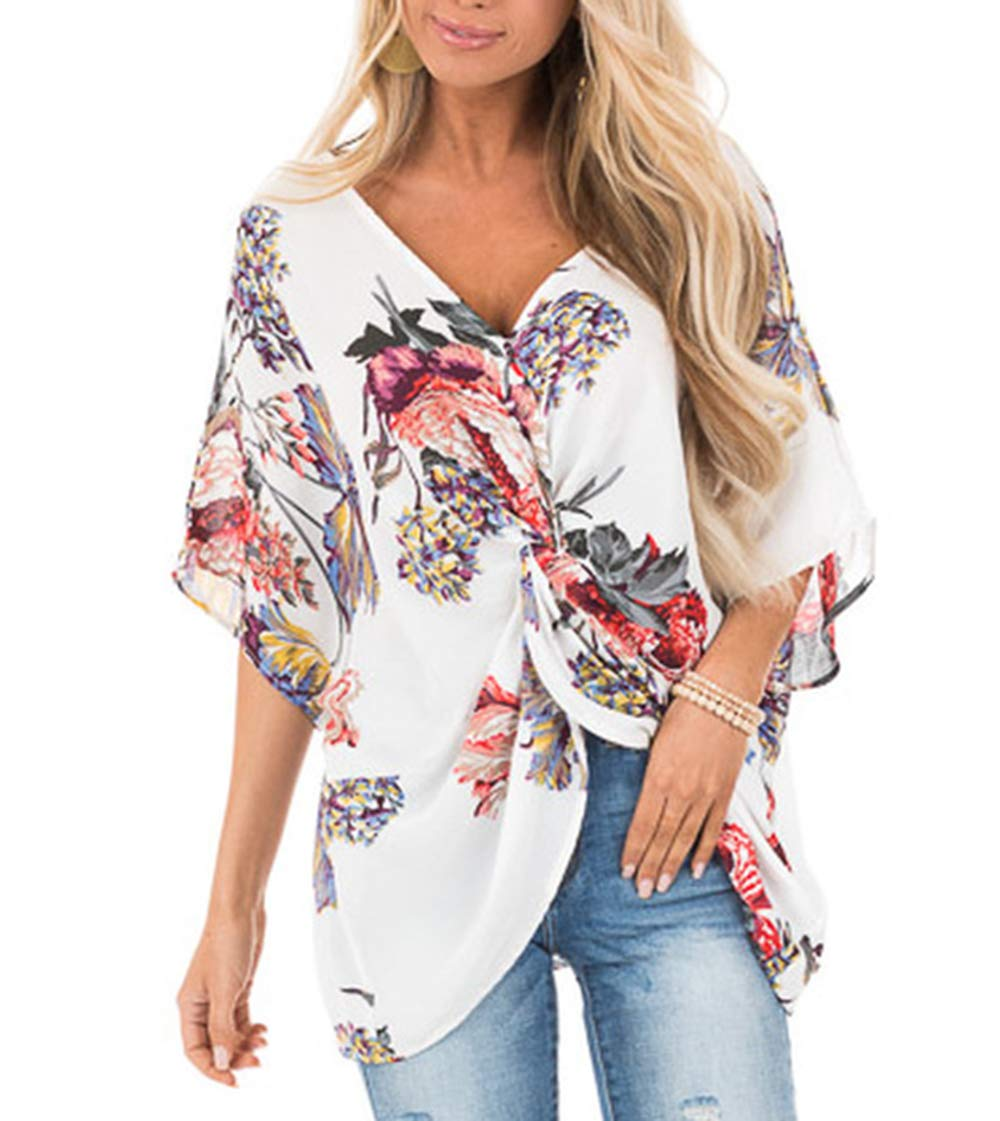 Women's Print V Neck Half Short Cut Sleeve Tops with Twist Knot Front Shirts Blouses (S, White)