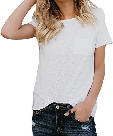FAMILIZO Camisetas Blancas Mujer, Camisetas Mujer Manga Corta Blouse For Women Camisetas Mujer Verano Blusa Mujer Sport Tops Mujer Verano T Shirt Woman Camiseta Corta Mujer Top: Amazon.es: Ropa y accesorios