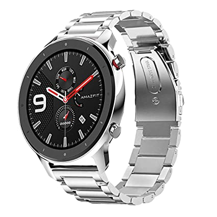 Aresh Compatible with Amazfit GTR 47mm Bands, Stainless Steel Replacement Band Compatible for Amazfit GTR 47mm Smartwatch (Silver)