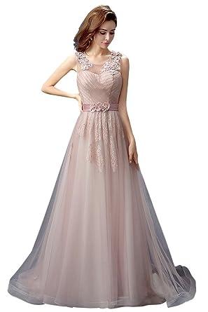 e6703dff0fd Amazon.com  Vimans Women s Long Pink Scoop Beaded Lace Formal Party ...