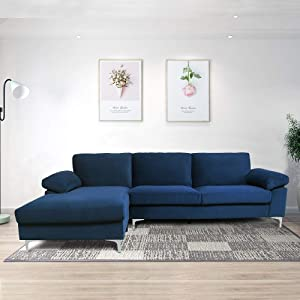 Velvet Fabric Sectional Sofa Set Corner Couch with Chaise Lounge Living Room Furniture (Blue)