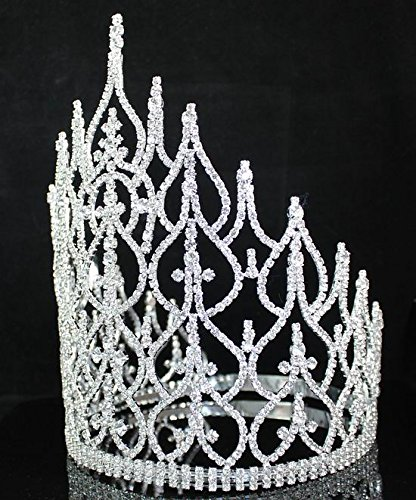 Beauty Queen Crown Tiara Clear Austrian Rhinestone Crystal Pageant Large T1413 by royal*wedding (Image #3)