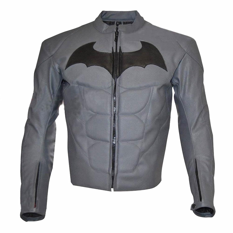 Men's Fashion Batman Dark Real Leather Knight Jacket Grey