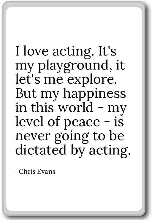 Imán para nevera con cita de Chris Evans con texto en inglés