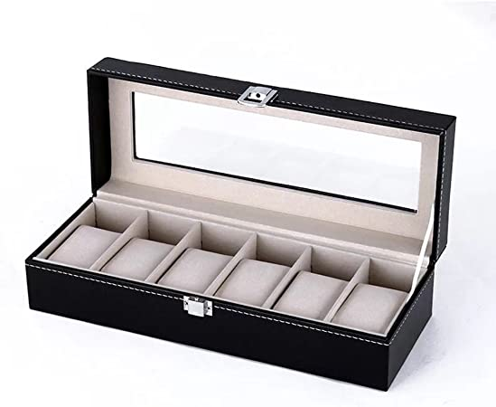 Piel sintética caja de reloj organizador para 6 relojes reserva reloj caja de proteger caso negro: Amazon.es: Hogar