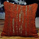 McAlister Textured Chenille 20″ Decor Pillow Cover | Terracotta Orange Zip 20×20 Throw Cushion Case | Soft Chenille Velvet Linen | Metallic Modern Rustic Accent For Sale