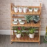 Floor solid wood multi - layer bamboo flowers folding shelf ( Design : Three layers )
