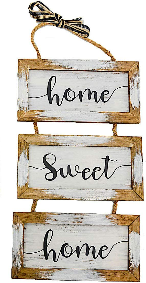 "S.T.C. Home Family Sign for Wall Front Door Indoor Outdoor Country Rustic Primitive Decor Art 20"" x 9"" (Home Sweet Home)"