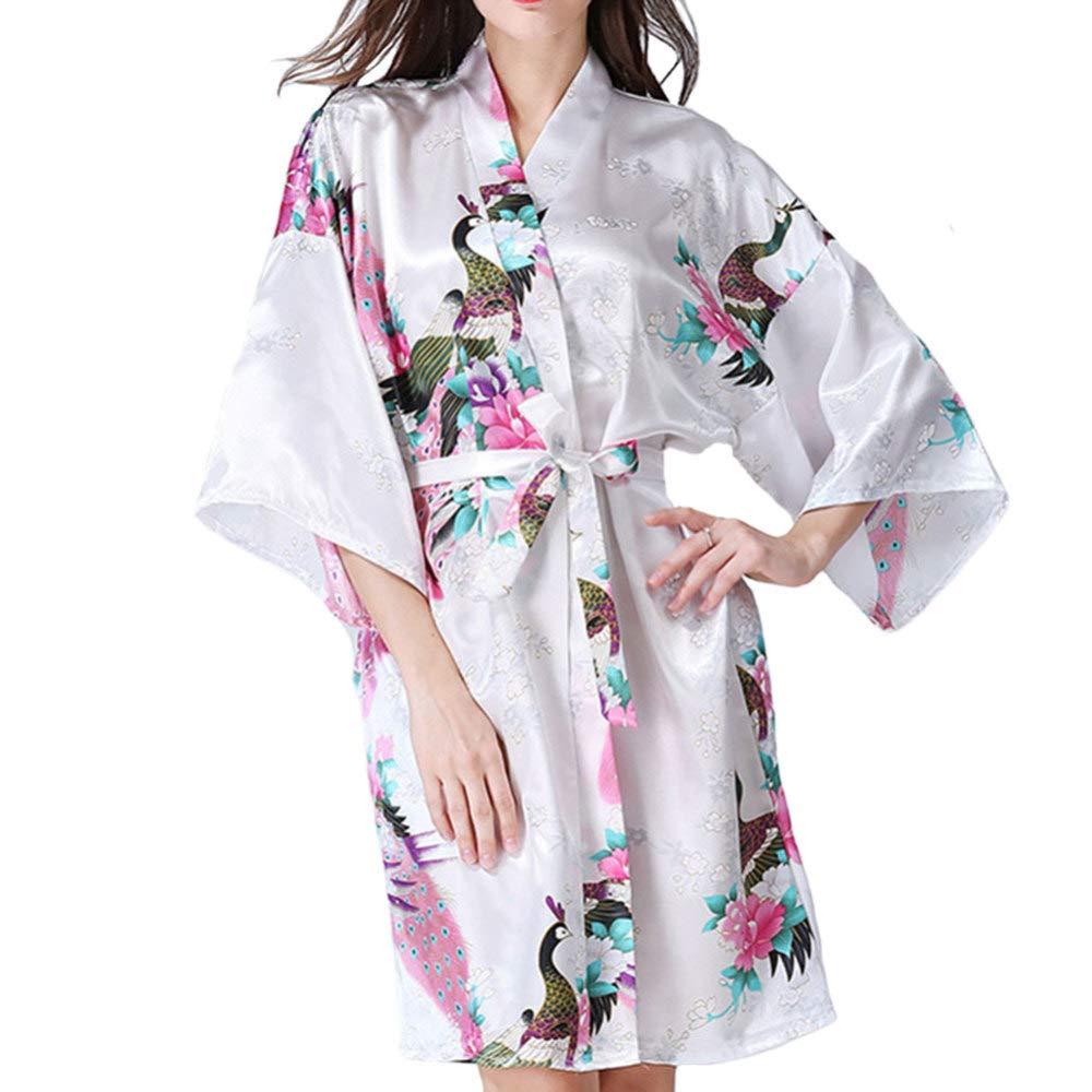 WTDlove Primavera y pijamas japonesa cardigan kimono bata albornoz todo código la ropa interior otoño imitación seda de la señora usan Inicio