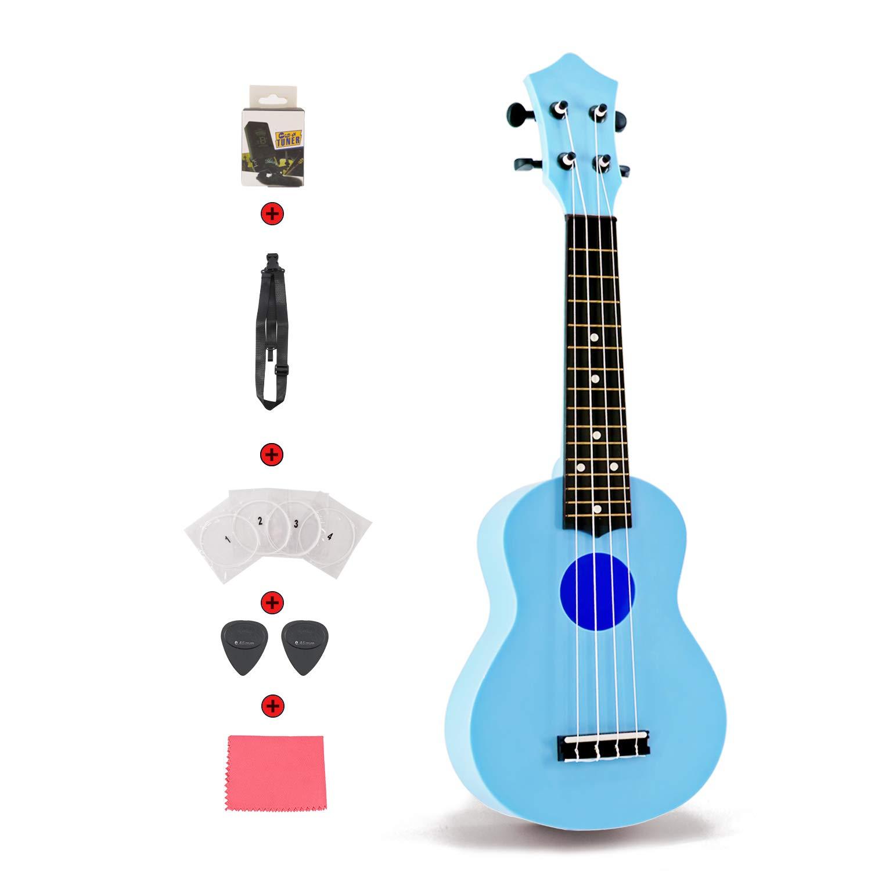 Toy Ukulele Set 21 inch Kids Guitar for Toddler Kids Children Students First Ukulele Set for Learner Beginner Perfect Ukulele Gift with Strap Nylon String Tuner Guitar Picks Ukulele Strings (Blue)