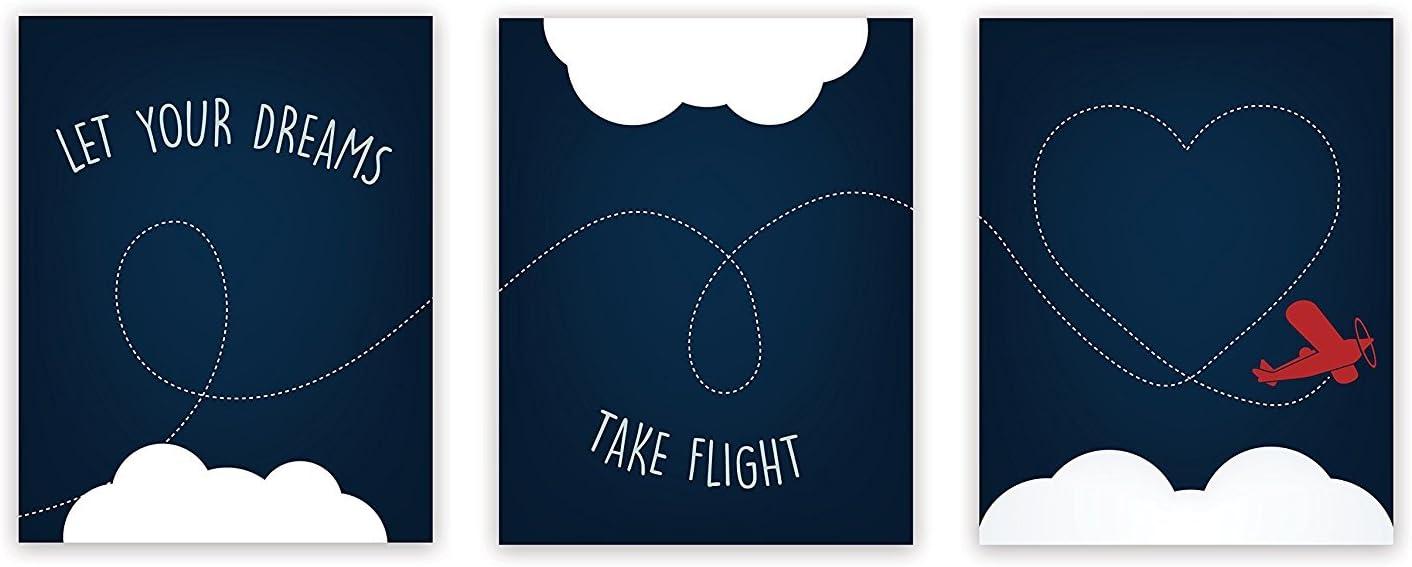 Nursery Decor, Let Your Dreams Take Flight Print 08x10 Inch Print in Blue, Red Plane, Wall Art Prints, Typography, Kid's Wall Art Print, Kid's Room Decor, Gender Neutral, Motivational, Baby Boy