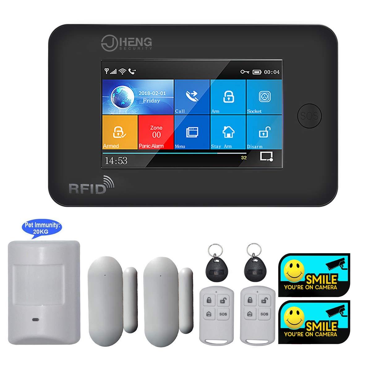 JC Wi-Fi y celular Switchable Sistema de alarma de seguridad Hogar y negocios Burglar Security trabajo con Alexa y control remoto APP detector PIR aptopara mascotas 99 zonas de defensainal/ámbrica
