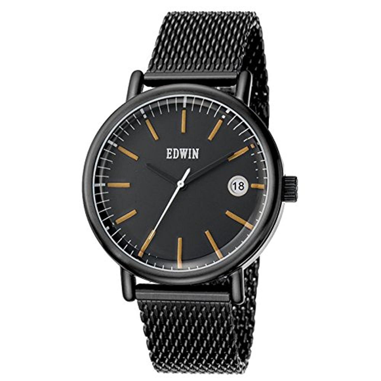 Edwin ew1g001 m0084 Herren Edelstahl schwarz Mesh Armband Band Schwarz Zifferblatt Armbanduhr