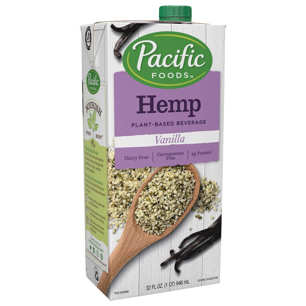 Pacific Foods Hemp Vanilla Plant-Based Beverage, 32oz, 12-pack