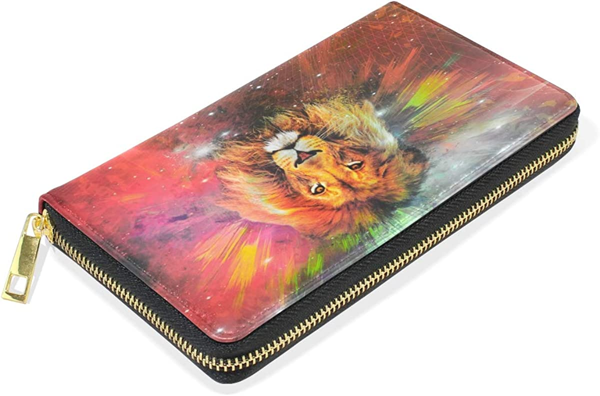 Abstract Lion Tiger Wallet Real Leather Zipper Coin Phone Purse Clutch for Women