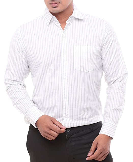 Twist Men s Full Sleeves Semi Formal White with Blue Lines Shirts ... 667aa6a817c9