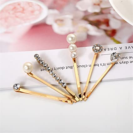 Bridal Bobby Pins Blonde Metal Rhinestone Crystal Pearl Bobby Grips Pin Hair Clips for Hairstyling Gift Box Style