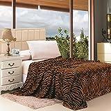 Plazatex Animal Prints MicroPlush Zebra Full Blanket Brown