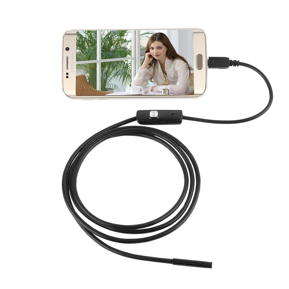 Jiayuane Android Endoscope with 7mm Camera LIve Video, 1.5 Meter Cable length OTG Adapter Cable for Android Phone Tablet Device