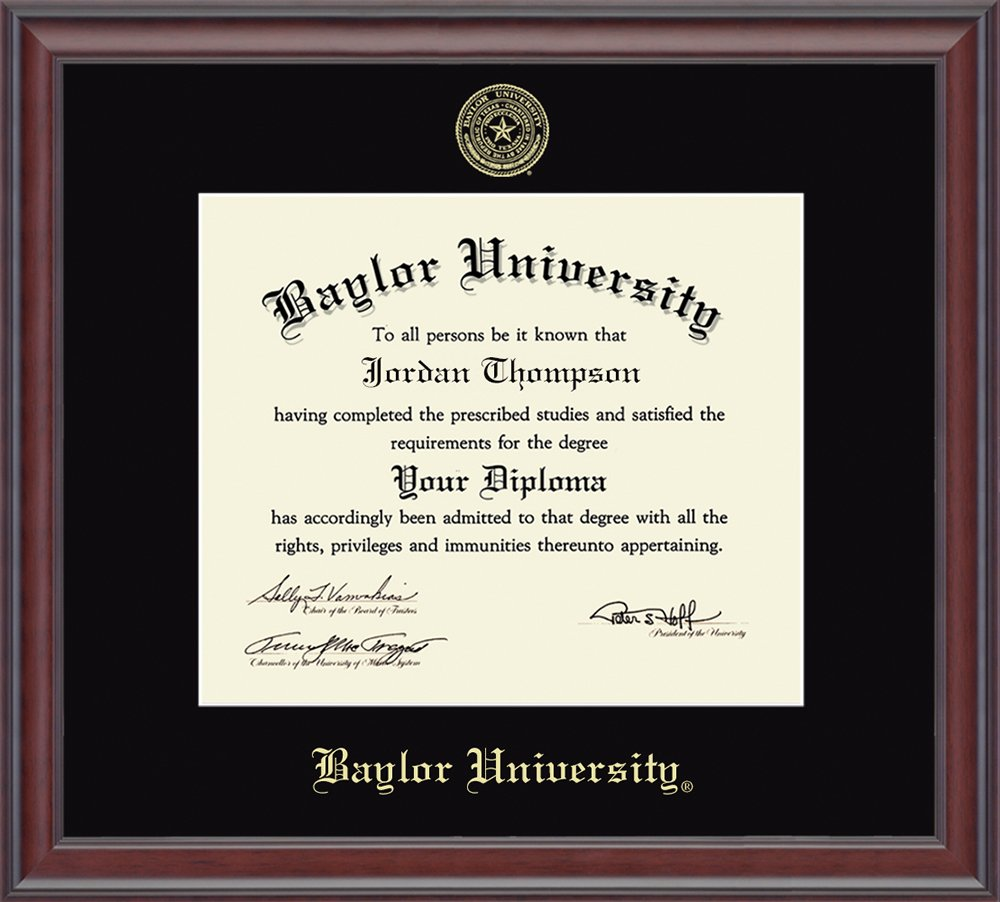 """Baylor University Gold Embossed Diploma Frame – Solid Hardwood """"Studio"""" Moulding, Officially Licensed – 11''h x 14''w Diploma Size – By Church Hill Classics by Church Hill Classics"""