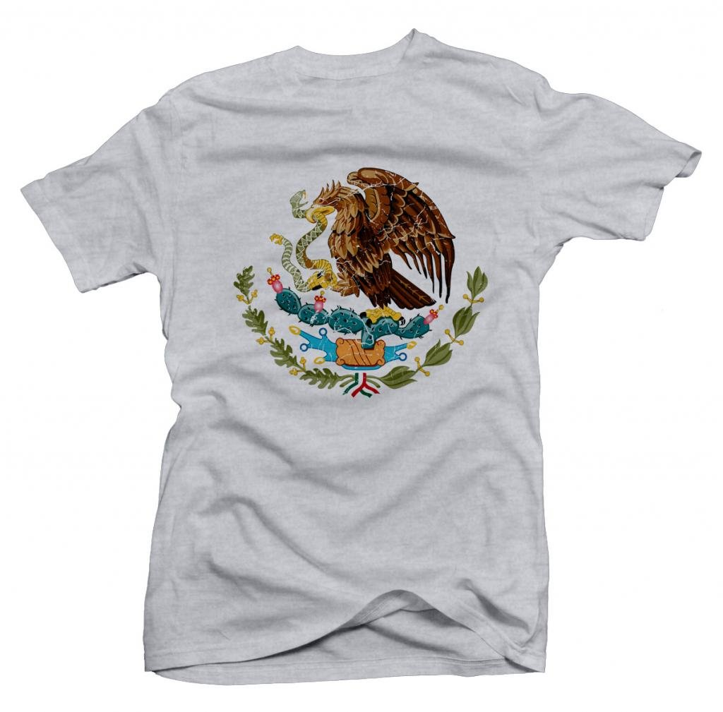 Mexico Vintage Coat of Arms Shortsleeve Tee (Ash) Youth Large [P*]