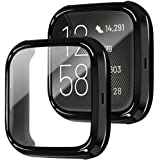 Soft TPU Slim Protective Case + Built-in Tempered Glass Screen Protector for Fitbit Versa 2 Watch, amBand Crystal Glass…