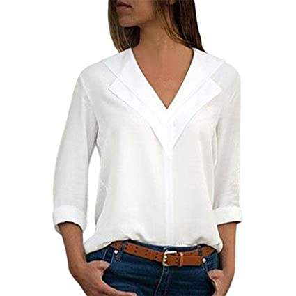 Gallity Womens V Neck Chiffon Tops Solid T Shirt Ladies Office Plain Roll Sleeve Blouse Tops 3xl White