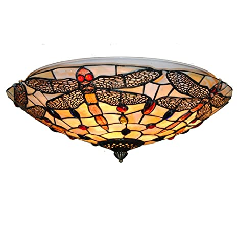super popular 716bc a239b Vintage Tiffany Ceiling Light Hand-Made Chandelier Colorful Flush Mount  Lighting Fixture, Lampshade with Mother of Pearl Decor (16 Inch)