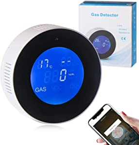 EBBCOWRY Natural Gas Detector Monitor WiFi Connect Mobile Phone, Natural Gas Alarm Propane Detector LCD Display for Home Kitchen Camper Trailer Gas Leak Sensor Methane Butane Gases