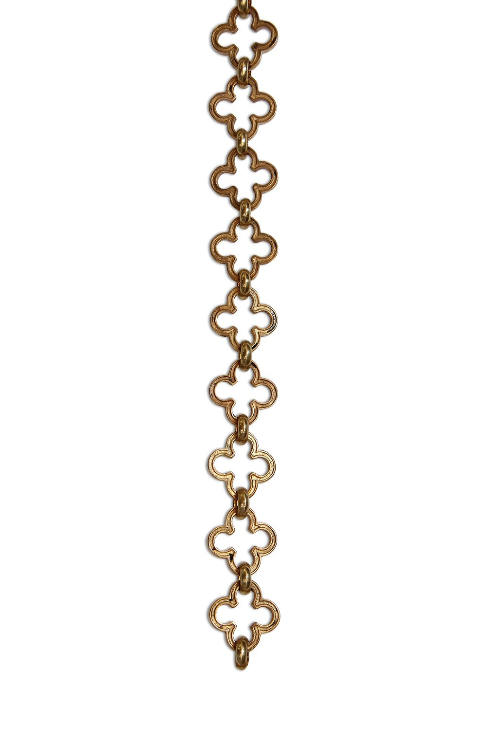 RCH Hardware Decorative Polished Solid Brass Chain for Hanging, Lighting - Cross Clover Design Unwelded Links (1 foot)