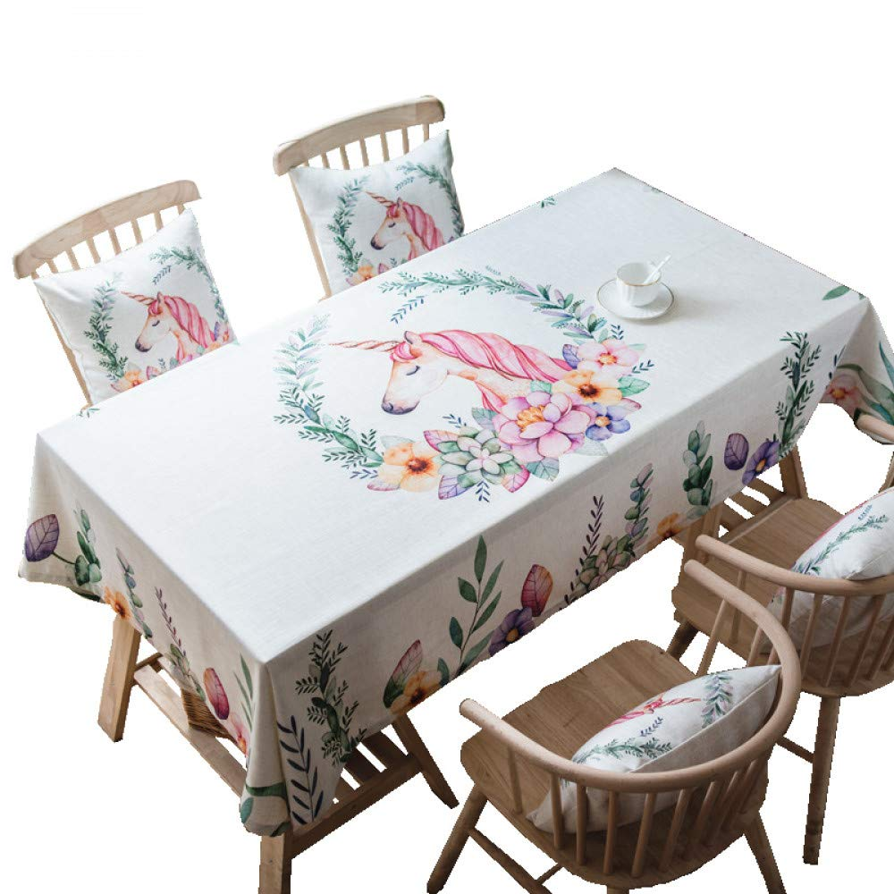 QQWWERTG Pony rosa Impermeabile in Cotone e Lino Coffee Table Cloth Cloth Nordic Girl