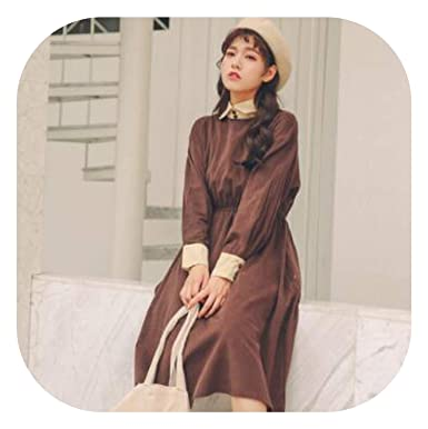 9a7262a70748 Shirt Dress Women Long Sleeve Long Corduroy Dresses Coffee.Khaki Vestidos