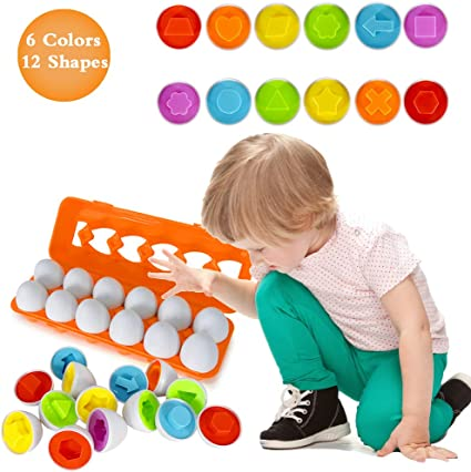Color Matching Egg Set Toddler Toys Educational Color Number Recognition Toy W