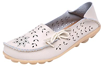 523f39bc236 UJoowalk Women s Beige Casual Cowhide Leather Hollow Out Driving Loafer  Shoes Boat Flats - Size 7