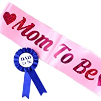 WOBBOX Baby Shower Pink Sash Daddy to Be Tinplate Badge Combo Kit Mom to Be Sash Pink Shoulder Strap
