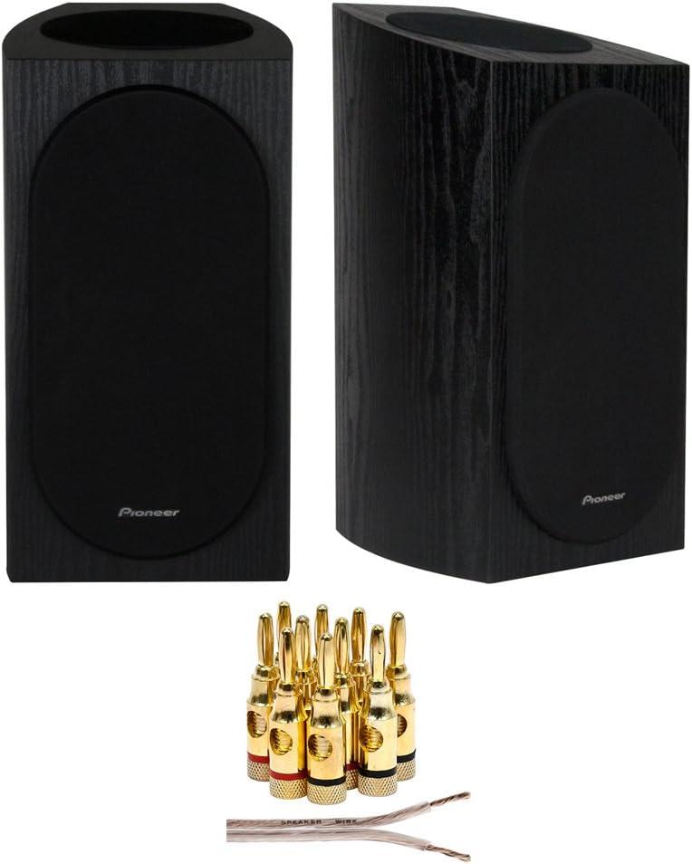 Pioneer SP-BS22A-LR Andrew Jones Designed Dolby Atmos Bookshelf Speaker (Black) + 16 AWG Speaker Wire 100ft + Brass Speaker Banana Plugs 5-Pair (Open Screw)