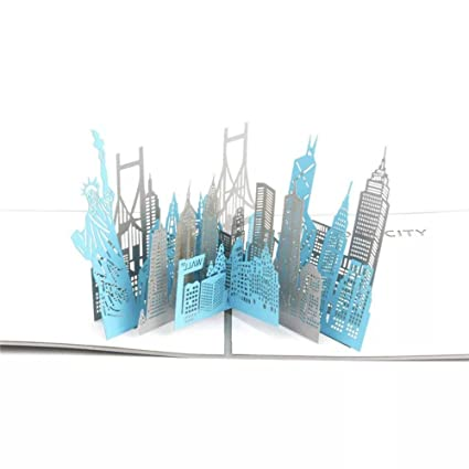 WoodBury 3D Pop Up Card Birthday Gift Greeting Cards Thank You New York City