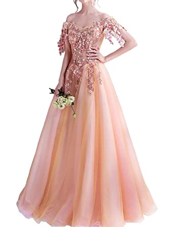 PROMNOVAS Boat Neck Luxury Evening Dresses Floor Length Floral Embroidery Lace Up Prom Dress at Amazon Womens Clothing store: