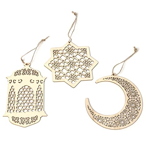 Eid Ramadan Mubarak Hollow Wooden Decor Home Hanging Crafts Pedant With Ropes