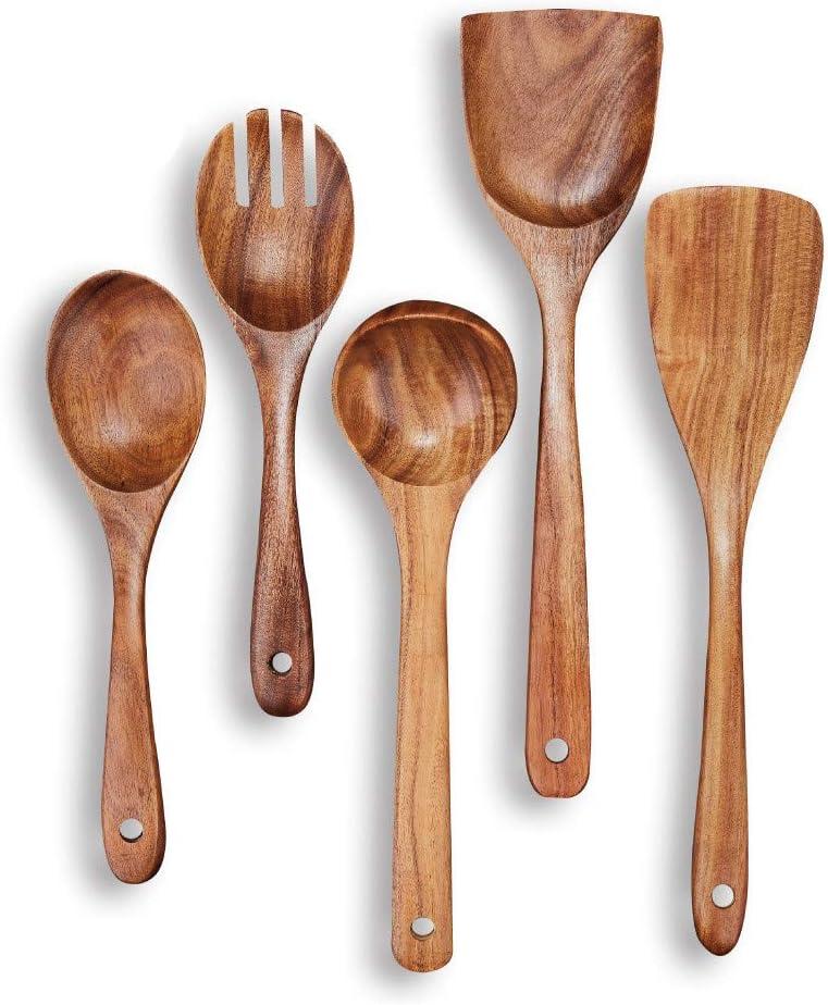 Wooden Spoons, Beauty Kate Wooden Cooking Utensils Set Kitchen Utensils for Nonstick Cookware, Handmade by Natural Teak Wood, Set of 5 Pcs