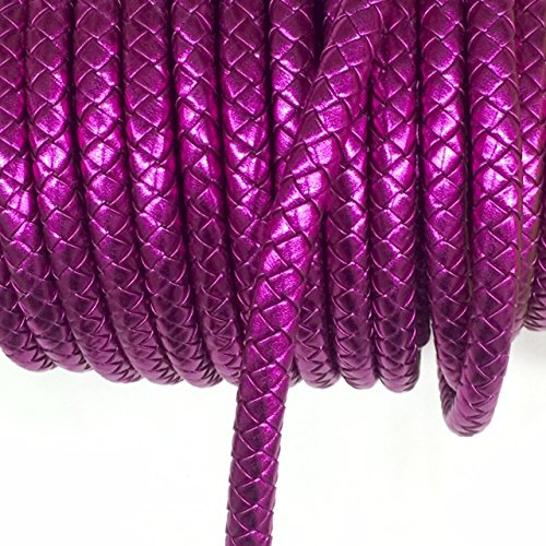 Braided Trim Tops - 2 Yards 10mm Fuchsia Round braided leather cord 10mm Thick synthetic leather cording