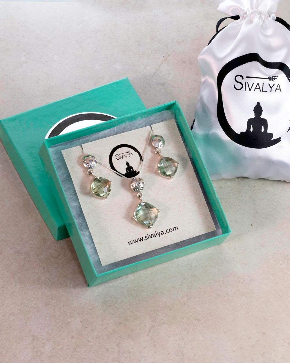 SIVALYA Green Amethyst Necklace and Earrings Set in Sterling Silver, Exquisite handcrafted design in solid 925 silver, Great Gift for Her