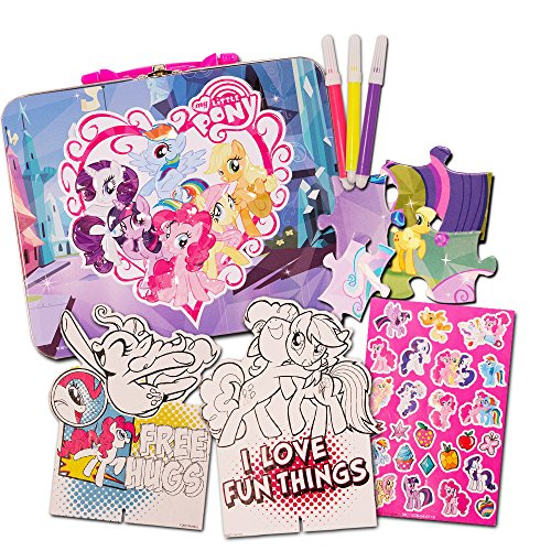 - My Little Pony Art Coloring Set -- My Little Pony Tin Lunch Box with Coloring Activities, Crayons, Colored Pencils, Water Colors and More (MLP School Supplies)