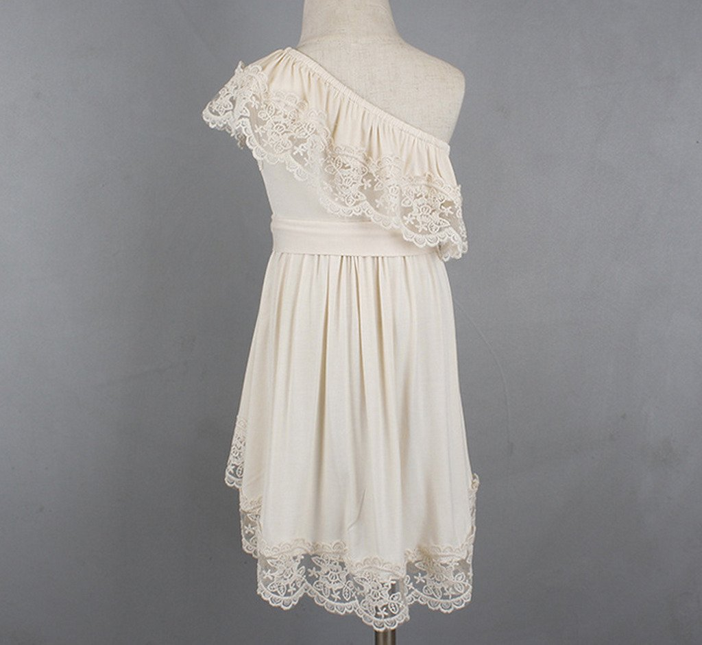 Bow Dream Flower Girl's Dress Vintage Lace One Shoulder Cream Ivory 8 by Bow Dream (Image #4)