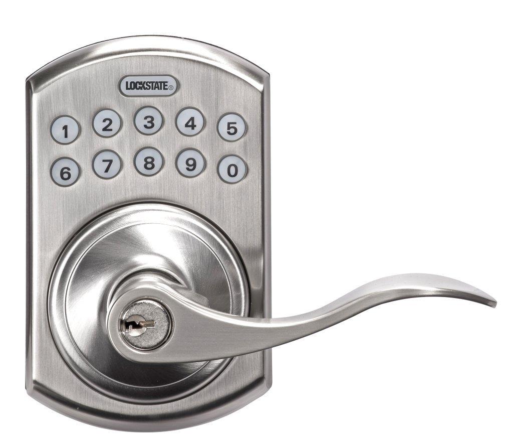 LockState LS-L550-SN Electronic Keypad Lever Door Lock Satin Nickel Boulder Style by LockState (Image #1)