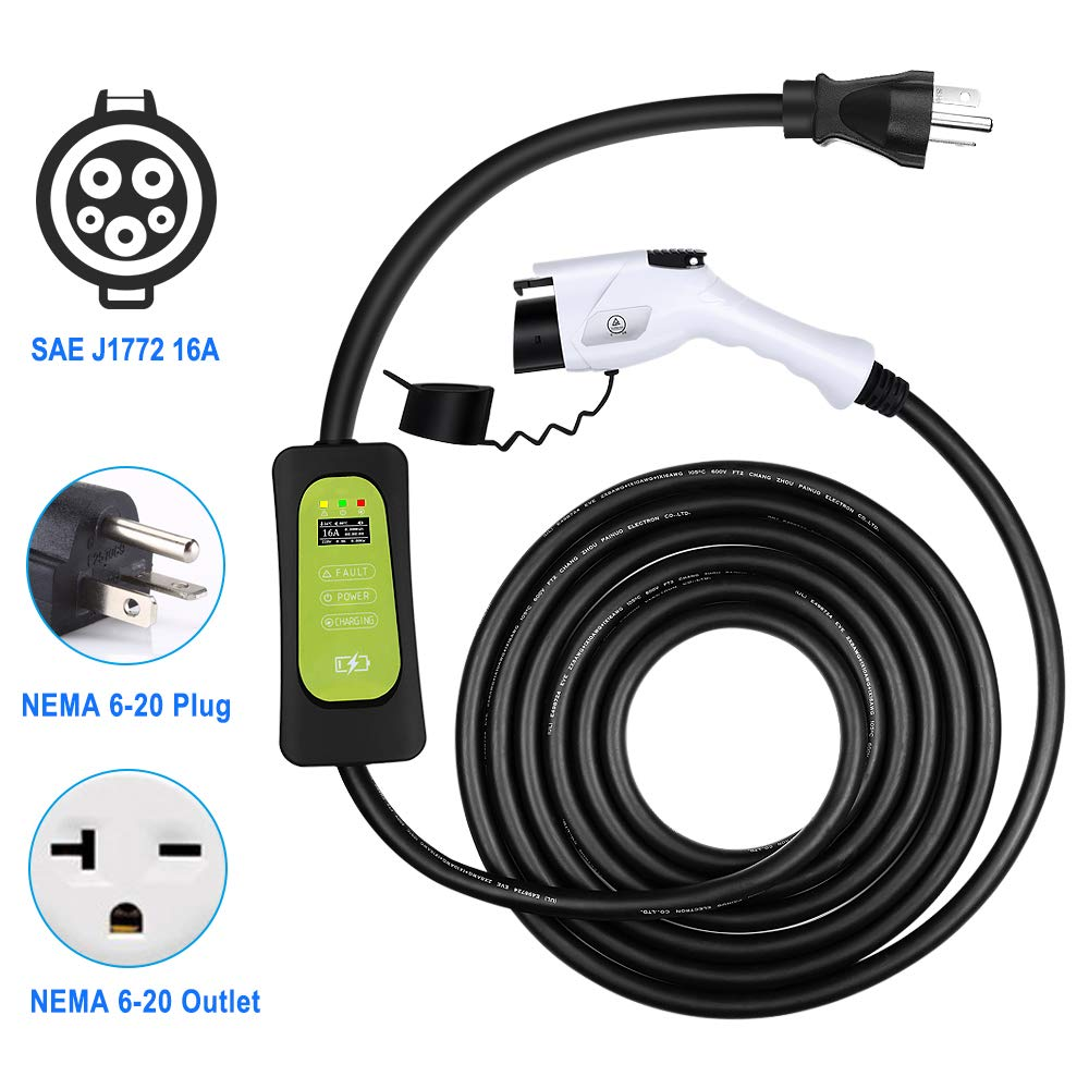 WonVon Level 2 EV Charger,110V-240V,16A,J1772 Portable EVSE Home Indoor Electric Vehicle Charger with NEMA 6-20 Plug,24.6FT Cable(7.5m), for Chevy Volt by WonVon
