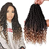 6Packs/Lot Wavy Faux Locs Braids 20Inch Ombre Faux Locs Crochet Hair with Curly