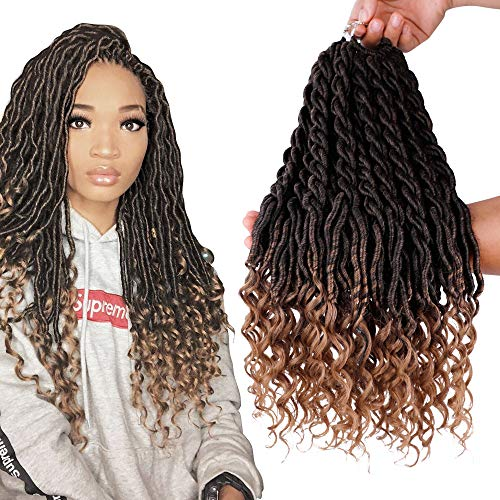 6Packs/Lot Wavy Faux Locs Braids 20Inch Ombre Faux Locs Crochet Hair with Curly Ends Goddess Crochet Synthetic Braiding Extensions(T1B-27#) ()