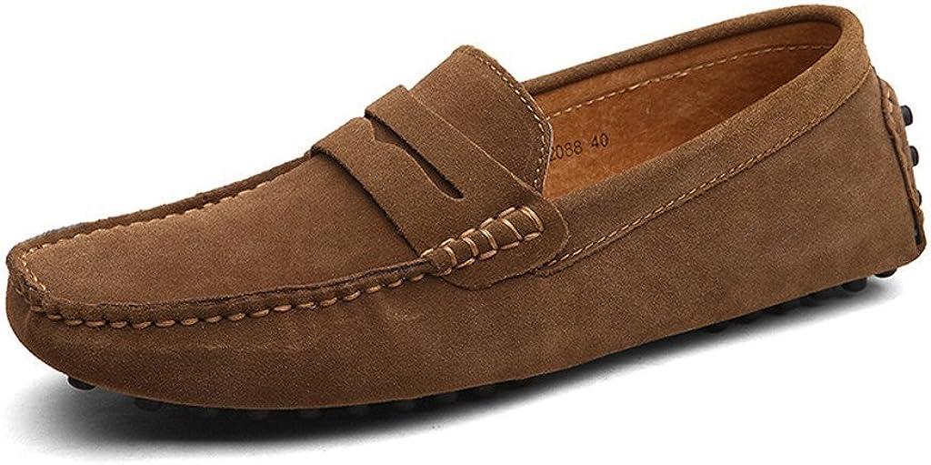 TALLA 41 EU. CCZZ Mocasines Hombre Cuero de Gamuza Loafers Casual Zapatos de Conducción Comodidad Calzado Plano 38-49 EU
