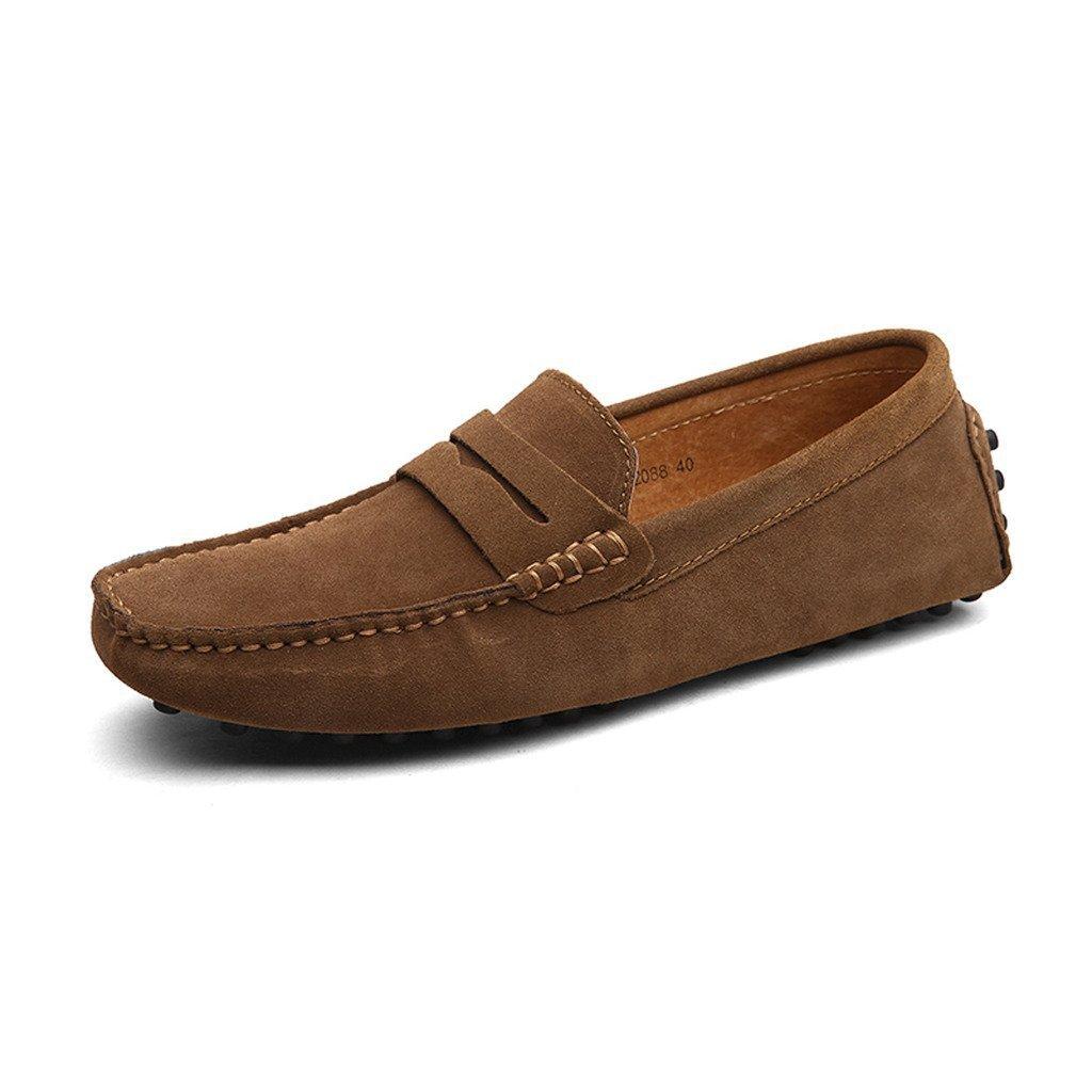 TALLA 41 EU. CCZZ Mocasines Hombre Buena Calidad Cuero de Gamuza Loafers Casual Zapatos de Conducción Comodidad Calzado Plano 38-49 EU